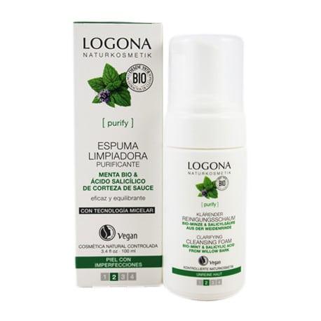 Logona Espuma Limpiadora Purificante con Menta Bio y Acido Salicilico 100ml